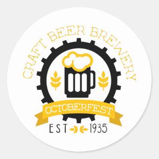 Sticker Rond Modèle de conception de logo de bière avec la