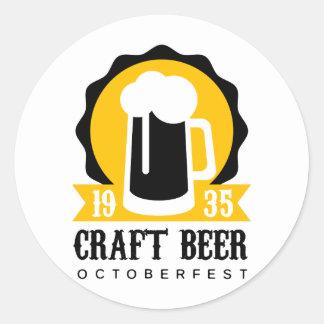 Sticker Rond Modèle de conception de logo de bière de métier