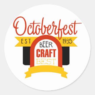 Sticker Rond Modèle de conception de logo d'Oktoberfest