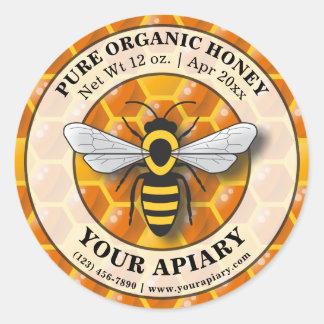 Sticker Rond Modèle de nid d'abeilles d'étiquette de miel de