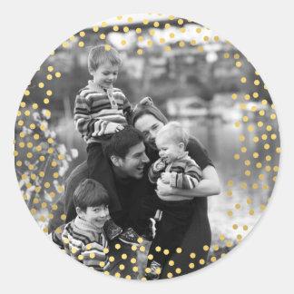 Sticker Rond Modèle photo de confettis d'or