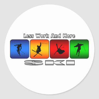 Sticker Rond Moins de travail et plus de ski