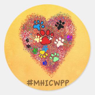 Sticker Rond Mon coeur est couvert d'empreintes de pattes