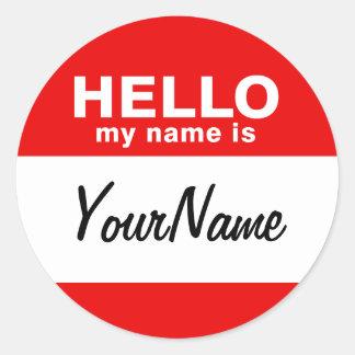 Sticker Rond Mon nom est le rouge fait sur commande vide de