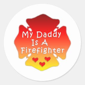 Sticker Rond Mon papa est un sapeur-pompier