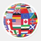 Sticker Rond Monde d'autocollant de drapeaux