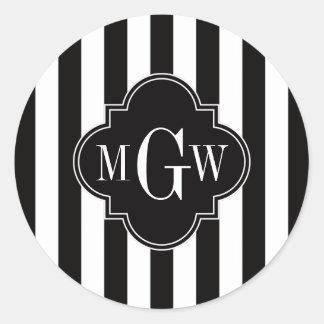 Sticker Rond Monogramme blanc noir de Quatrefoil 3 de noir de