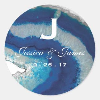 Sticker Rond Monogramme bleu de mariage d'agate