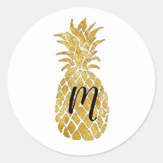 Sticker Rond monogramme d'ananas