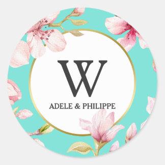 Sticker Rond Monogramme de fleurs de cerisier d'aquarelle