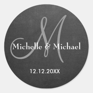 Sticker Rond Monogramme de jeunes mariés de tableau