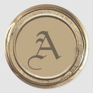 Sticker Rond Monogramme de joint de cire d'or