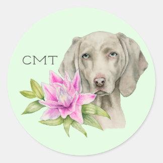 Sticker Rond Monogramme de l'aquarelle | de chien et de lis de