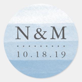 Sticker Rond Monogramme de mariage d'aquarelle de colorant