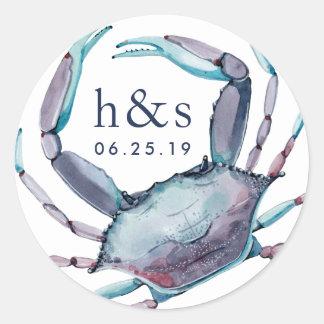 Sticker Rond Monogramme de mariage de crabe bleu