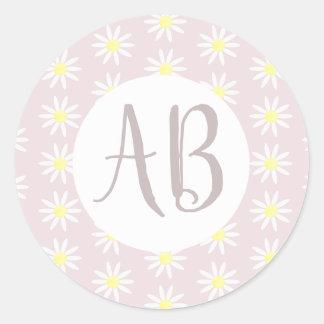 Sticker Rond Monogramme de motif de fleur de marguerite de rose
