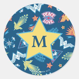 Sticker Rond Monogramme du motif | d'icônes et d'expressions de