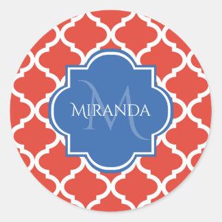 Sticker Rond Monogramme et nom bleus rouges à la mode de