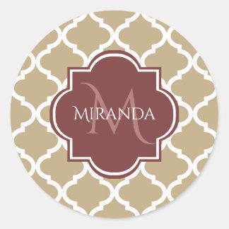 Sticker Rond Monogramme et nom bronzages élégants de Quatrefoil