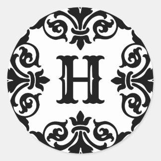 Sticker Rond Monogramme fleuri élégant