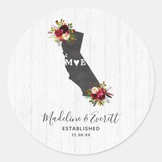 Sticker Rond Monogramme floral rustique de mariage d'état de la