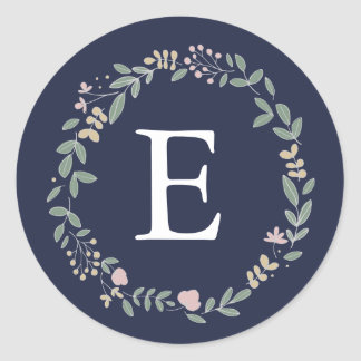 Sticker Rond Monogramme floral sensible