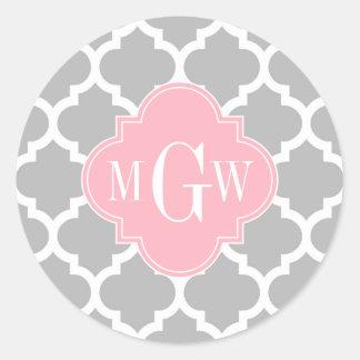 Sticker Rond Monogramme initial du rose #5 3 de blanc gris