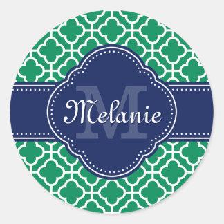 Sticker Rond Monogramme marocain blanc de marine de motif de