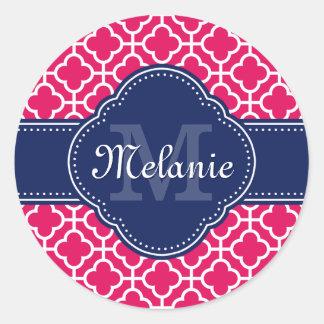 Sticker Rond Monogramme marocain blanc rose de marine de motif