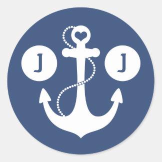 Sticker Rond Monogramme nautique de bleu marine et blanc
