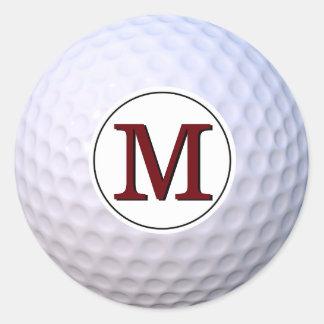 Sticker Rond Monogramme personnalisable de boule de golf