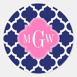 Sticker Rond Monogramme Pink2 3 initial du Marocain #5 de