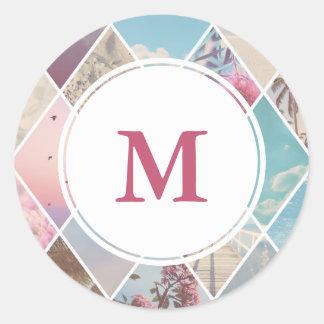 Sticker Rond Monogramme rose de mariage des diamants   d'été