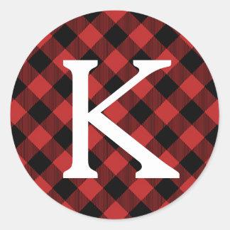 Sticker Rond Monogramme rouge d'initiale de vacances de plaid