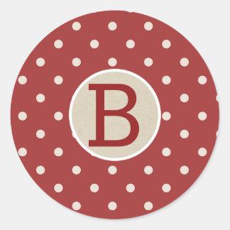 Sticker Rond Monogramme rustique rouge marron de Papier
