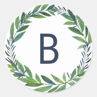 Sticker Rond Monogramme vert de joint de mariage de verdure