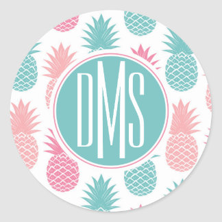 Sticker Rond Monogramme vintage du motif | d'ananas