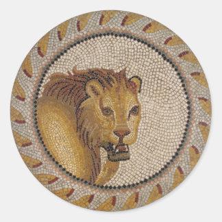 Sticker Rond Mosaïque romaine de lion