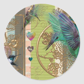 Sticker Rond motif coeur