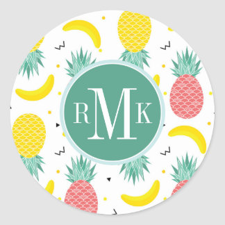 Sticker Rond Motif coloré de fruit tropical
