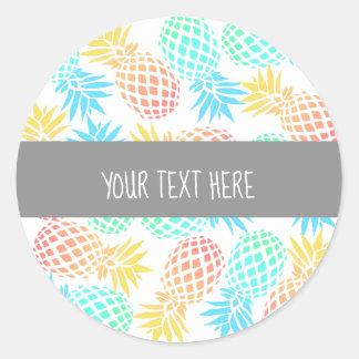 Sticker Rond motif coloré tropical d'ananas d'été élégant