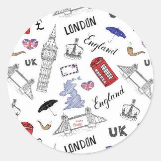 Sticker Rond Motif de griffonnages de ville de Londres