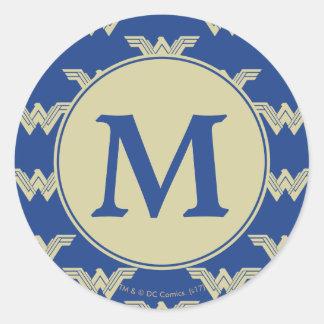 Sticker Rond Motif de logo de femme de merveille de monogramme