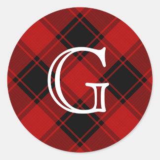 Sticker Rond Motif de plaid - rouge et noir