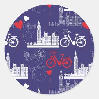 Sticker Rond Motif de points de repère de Londres