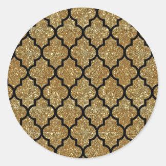 Sticker Rond Motif de Quatrefoil de Marocain de scintillement