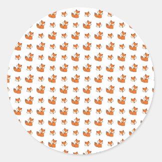 Sticker Rond motif de renards rouges