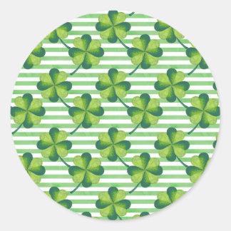 Sticker Rond Motif du jour de quatre de feuille St Patrick de