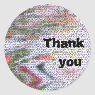Sticker Rond Motif en pastel en verre souillé de mosaïque de