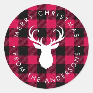 Sticker Rond Motif et cerfs communs de plaid de Noël
